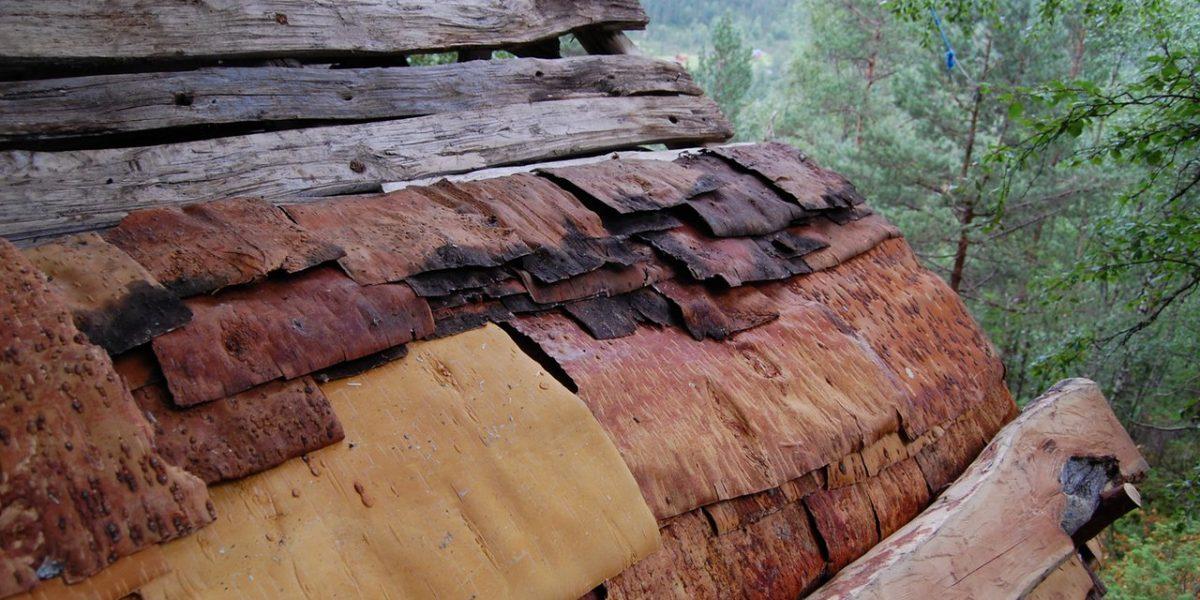 Taket på Jedlaløo under tekkingen. (Foto: Kulturminnefondet)