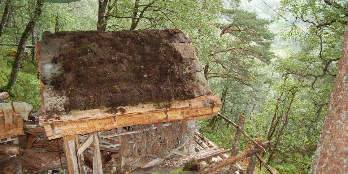Her er taket på Jedlaløo ferdig tekket. (Foto: Kulturminnefondet)