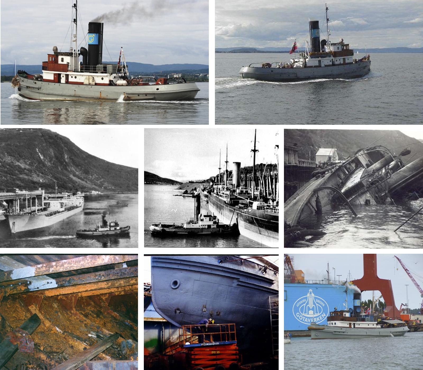 DS Styrbjørn ble bygget i 1910 som slepebåt i malmdriften. I 1940 ble den senket av tyskerne, og i 1979 kjøpt av Norsk Veteranskibsklub som har satt den i stand. DS Styrbjørn ligger i dag til kai på Akershusstranda ved rådhuset i Oslo. (Foto: Norsk kulturminnefond)