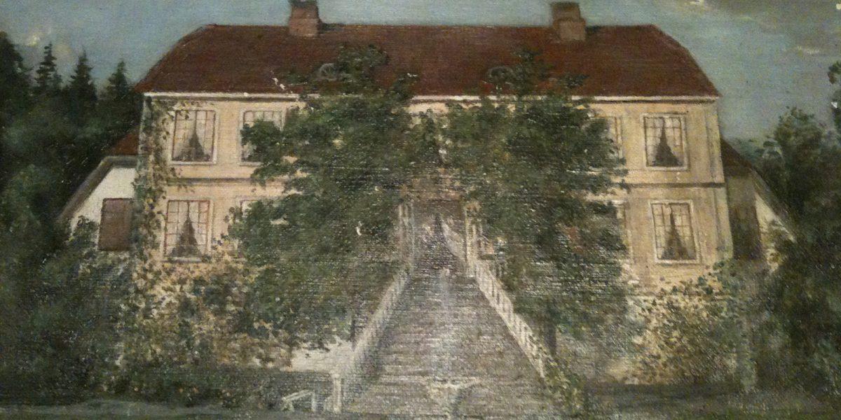 Gammelt maleri av Hovelsrud gård. Foto. Marianne Olssøn