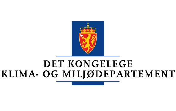 Klima- og miljødepartementet logo.