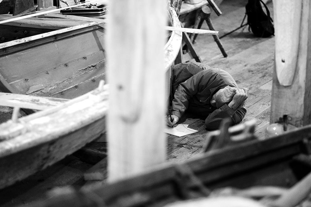 Bilde fra båtbyggeriet hos Engøyholmen kystkultursenter i Stavanger. Foto: Tom Gustavsen.