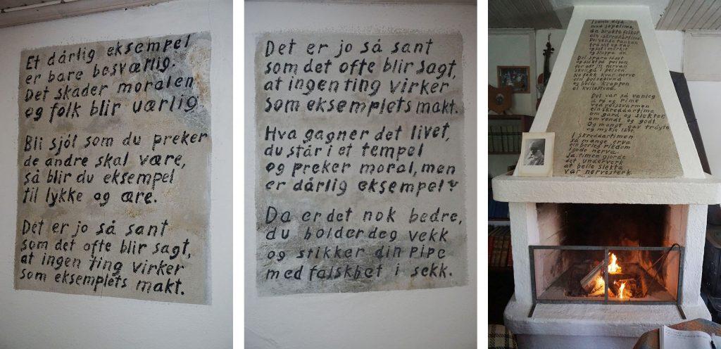 Visdomsord på veggene i Lilandhuset. Foto: Helene Tiller