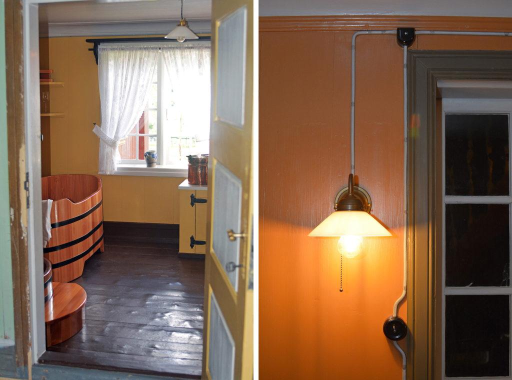 Bad og det elektriske opplegget i hovedhuset på Grøna. (Foto: Dagfinn Claudius)