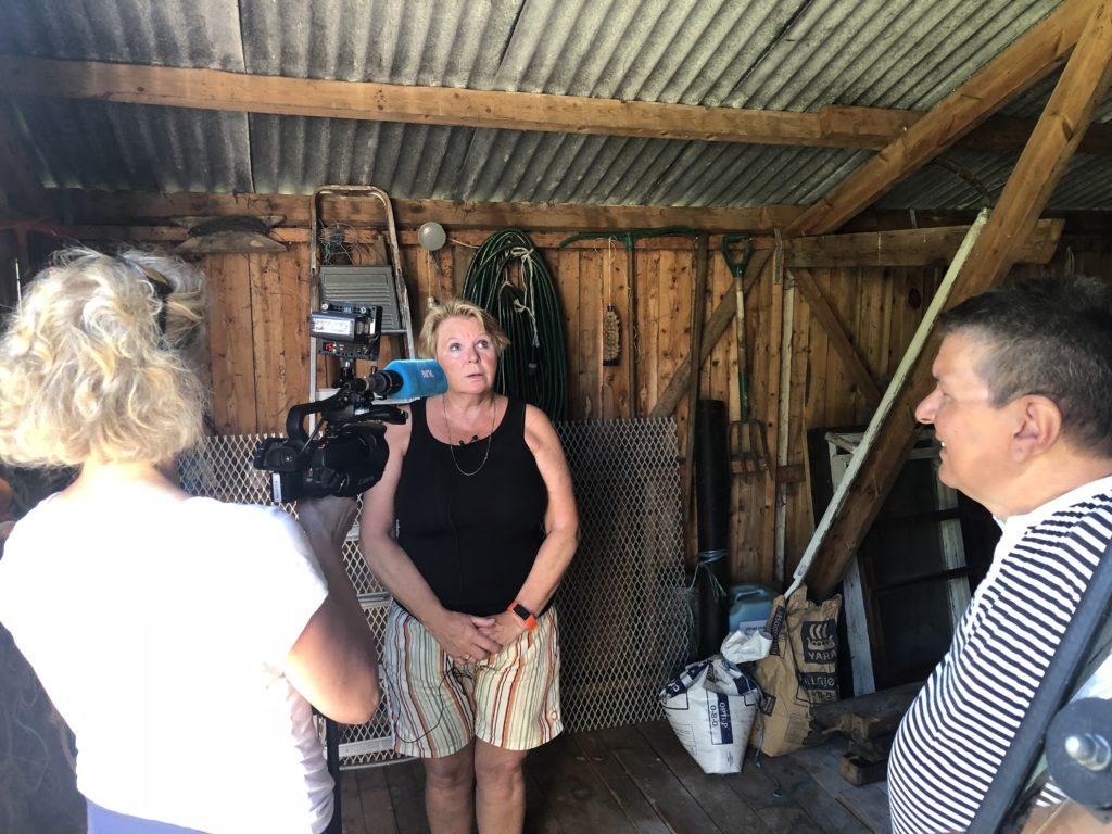 Jeanette Anderssen har en forfallen låve i Djupvik, og kunne tenke seg å bevare denne. Her intervjues hun av NRK Troms.