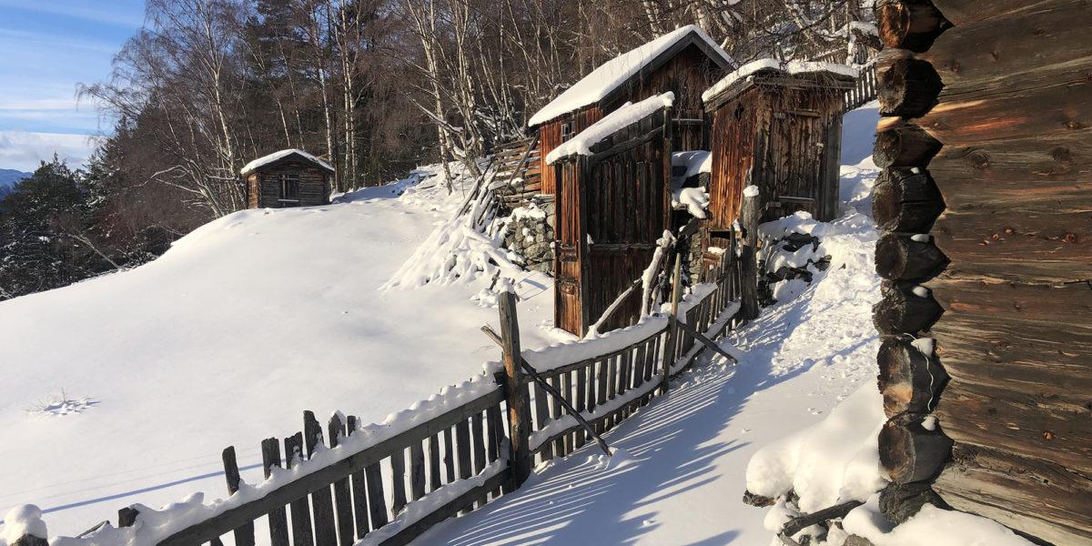Grevrusten består av tolv hus. Her er siloen og utedoen. (Foto: Simen Bjørgen/Kulturminnefondet)