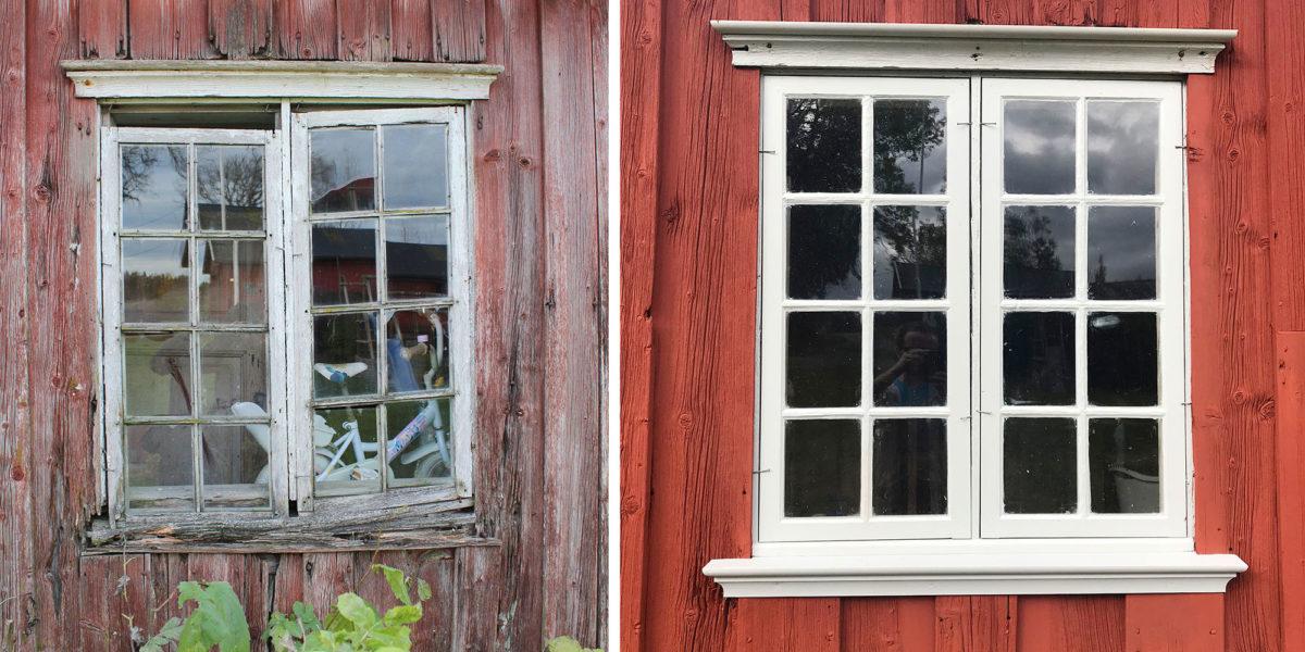 Vinduet på spiskammerset før og etter istandsetting. (Foto: Rune Strønes)