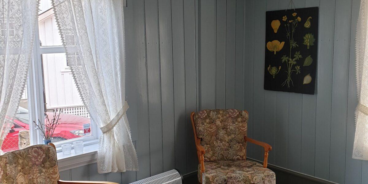 Bygget er pusset opp fra innerst til ytterst: Her fra finstua, der møbler fra 1800-tallet pryder flere av rommene.