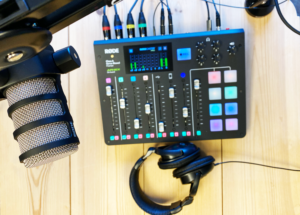 podcast radio mixer microphone headset on-air