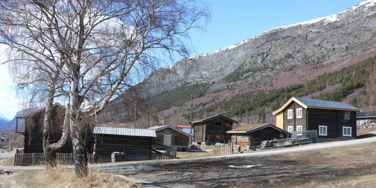 Kolstad ligg fint til på solsida i Skjåk. F.v. storlåve, småkrytyrfjos med låve i andre høgda, fjos, stabbur, stall og stugu.