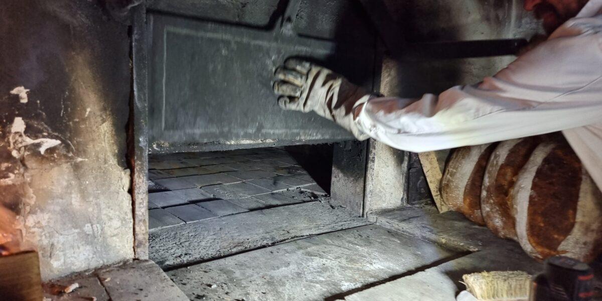 Bakerovnen har mekanisk luke/åpning, som tyder på storproduksjon/industribaking tidlig på 1900-tallet. Foto: Ingveig Tveranger