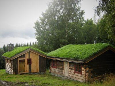 Maristua (t.v.) og Dovrestu vart flytta til Ringsveen rundt 1970. Foto: Kjell Nyhus