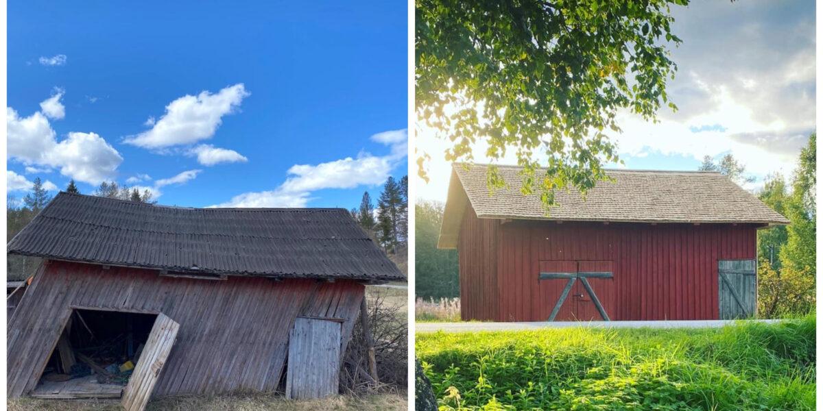 Pakkhuset før og etter. Foto: Bianca og Børre Wessel